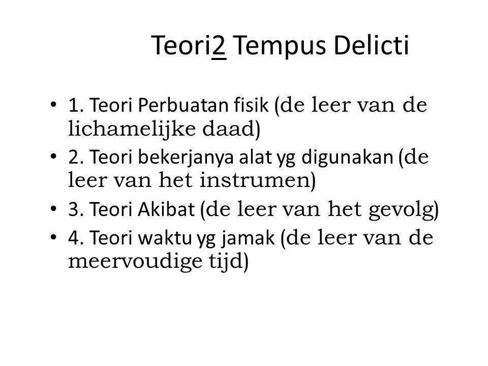 Teori2 Tempus Delicti 1. Teori Perbuatan fisik (de leer van de lichamelijke daad) 2. Teori bekerjanya alat yg digunakan (de leer van het instrumen)
