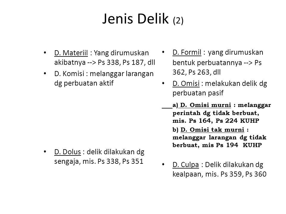 Jenis Delik (2) D. Formil : yang dirumuskan bentuk perbuatannya --> Ps 362, Ps 263, dll. D. Omisi : melakukan delik dg perbuatan pasif.