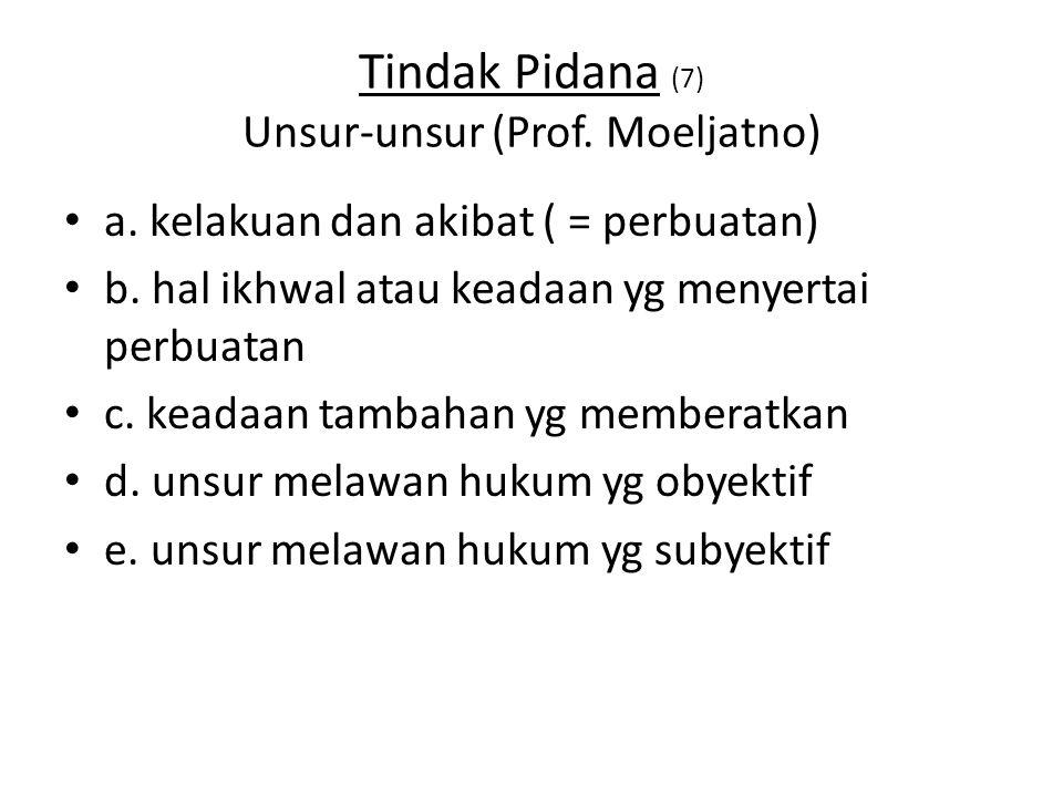 Tindak Pidana (7) Unsur-unsur (Prof. Moeljatno)