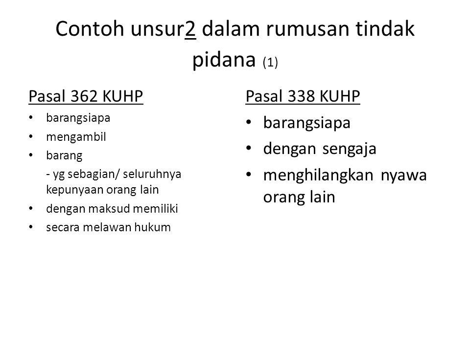 Contoh unsur2 dalam rumusan tindak pidana (1)
