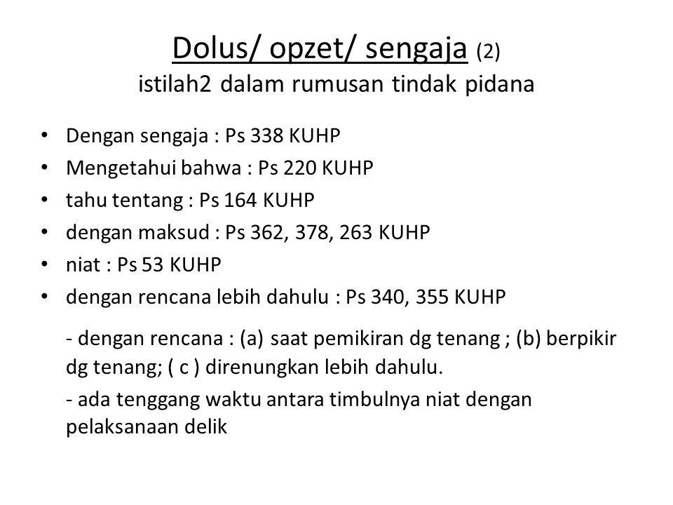 Dolus/ opzet/ sengaja (2) istilah2 dalam rumusan tindak pidana