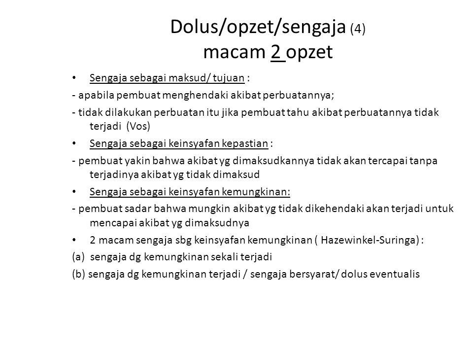 Dolus/opzet/sengaja (4) macam 2 opzet