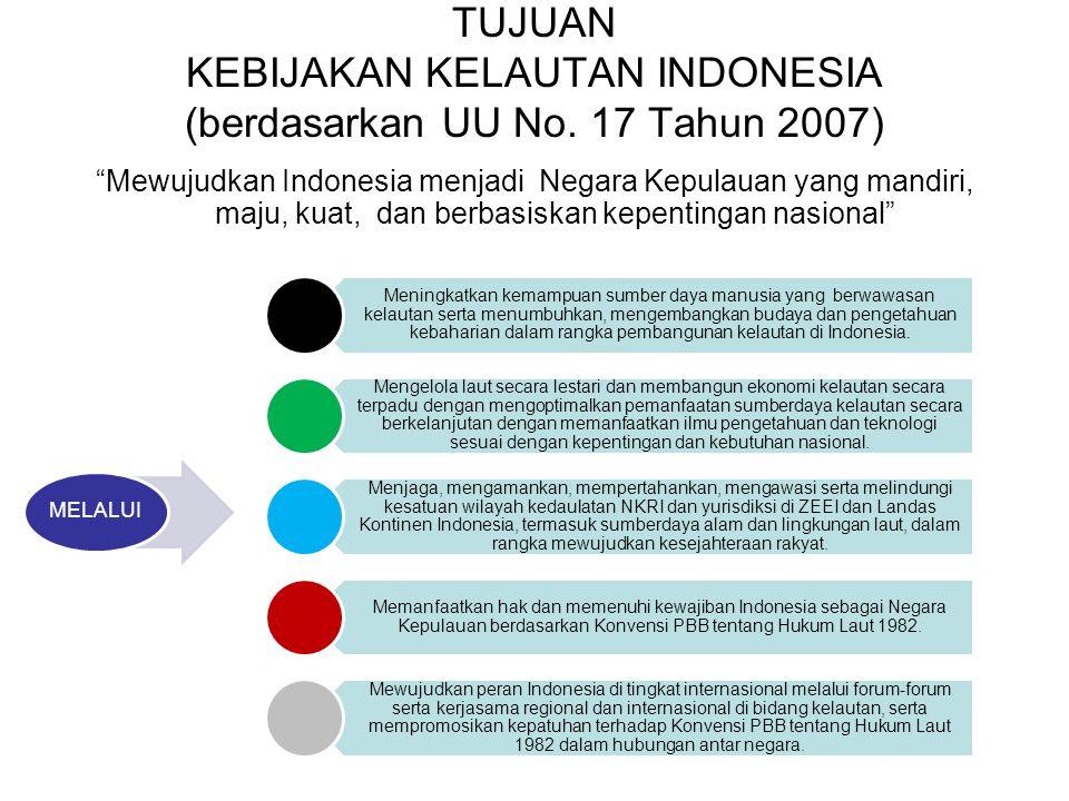 TUJUAN KEBIJAKAN KELAUTAN INDONESIA (berdasarkan UU No. 17 Tahun 2007)