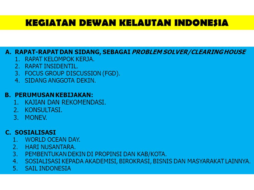 KEGIATAN DEWAN KELAUTAN INDONESIA