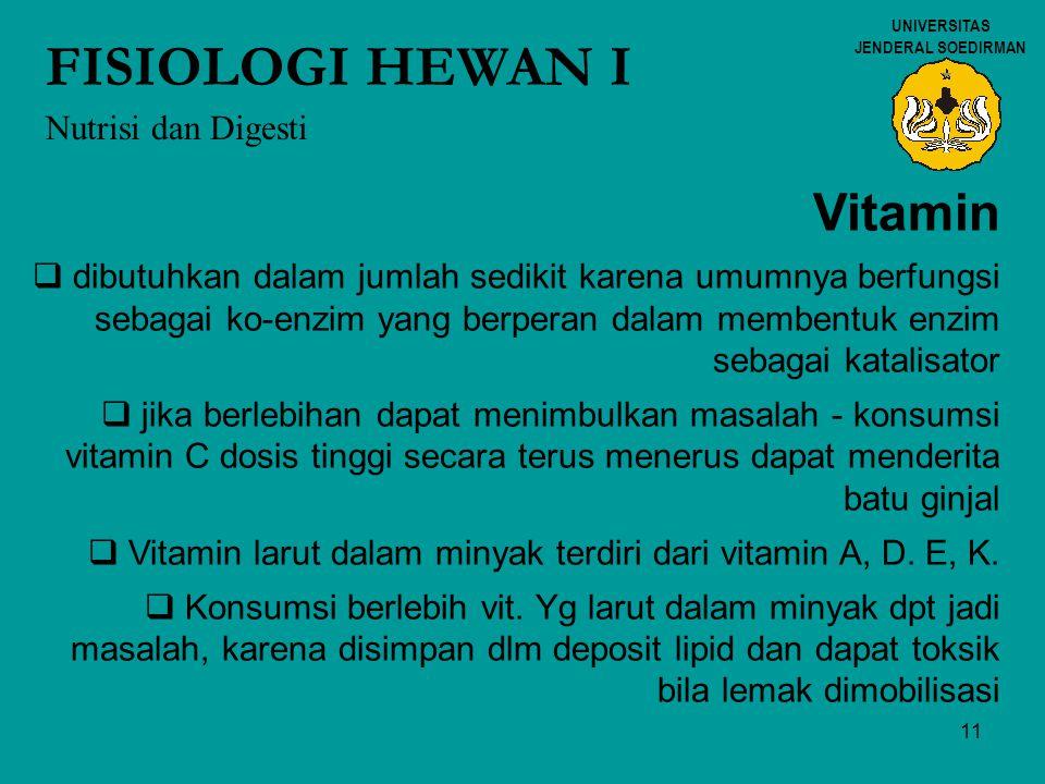 FISIOLOGI HEWAN I Vitamin Nutrisi dan Digesti