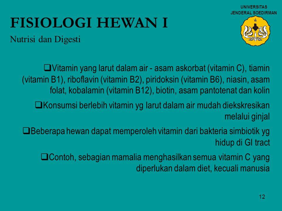 FISIOLOGI HEWAN I Nutrisi dan Digesti