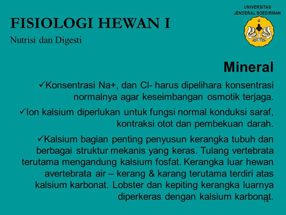 FISIOLOGI HEWAN I Mineral Nutrisi dan Digesti