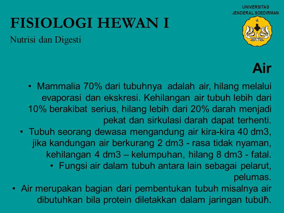 FISIOLOGI HEWAN I Air Nutrisi dan Digesti