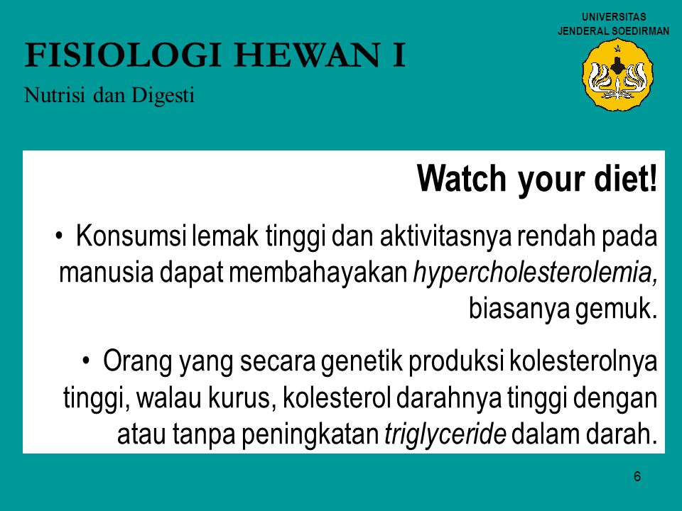 FISIOLOGI HEWAN I Watch your diet!