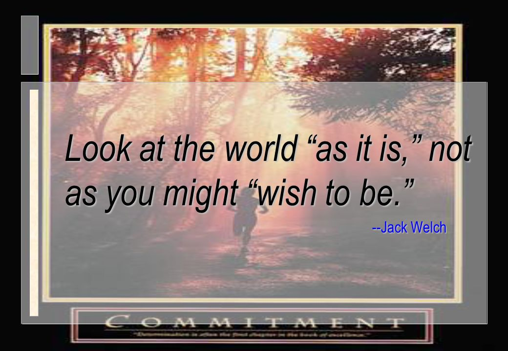 Look at the world as it is, not as you might wish to be.