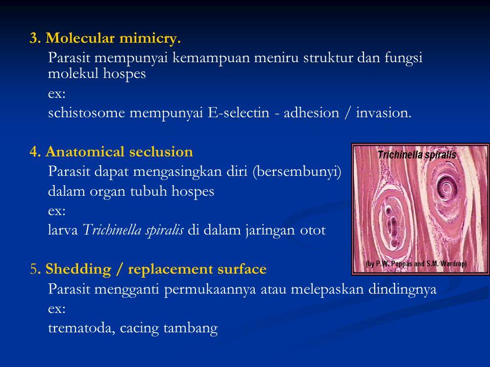 3. Molecular mimicry. Parasit mempunyai kemampuan meniru struktur dan fungsi molekul hospes. ex:
