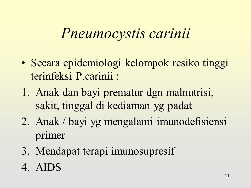 Pneumocystis carinii Secara epidemiologi kelompok resiko tinggi terinfeksi P.carinii :