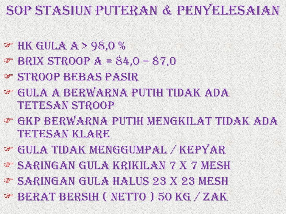 SOP STASIUN PUTERAN & PENYELESAIAN
