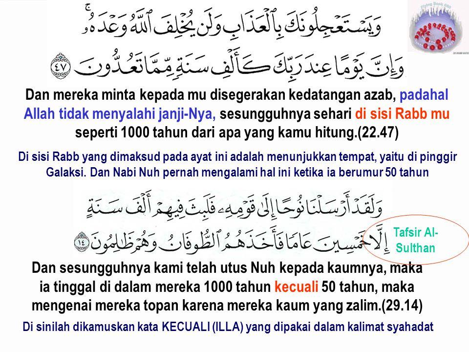 Dan mereka minta kepada mu disegerakan kedatangan azab, padahal Allah tidak menyalahi janji-Nya, sesungguhnya sehari di sisi Rabb mu seperti 1000 tahun dari apa yang kamu hitung.(22.47)