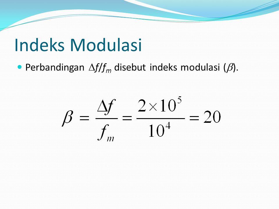 Indeks Modulasi Perbandingan Df/fm disebut indeks modulasi (b).