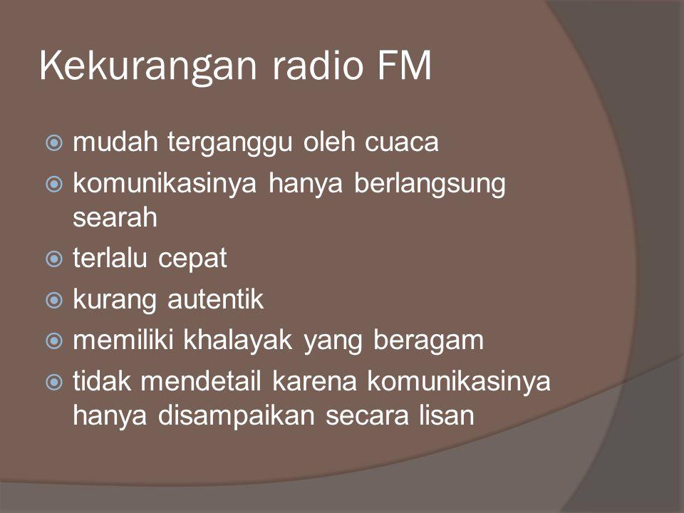 Kekurangan radio FM mudah terganggu oleh cuaca