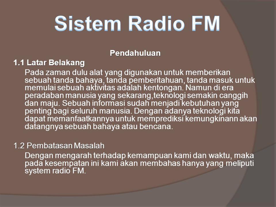 Sistem Radio FM Pendahuluan 1.1 Latar Belakang