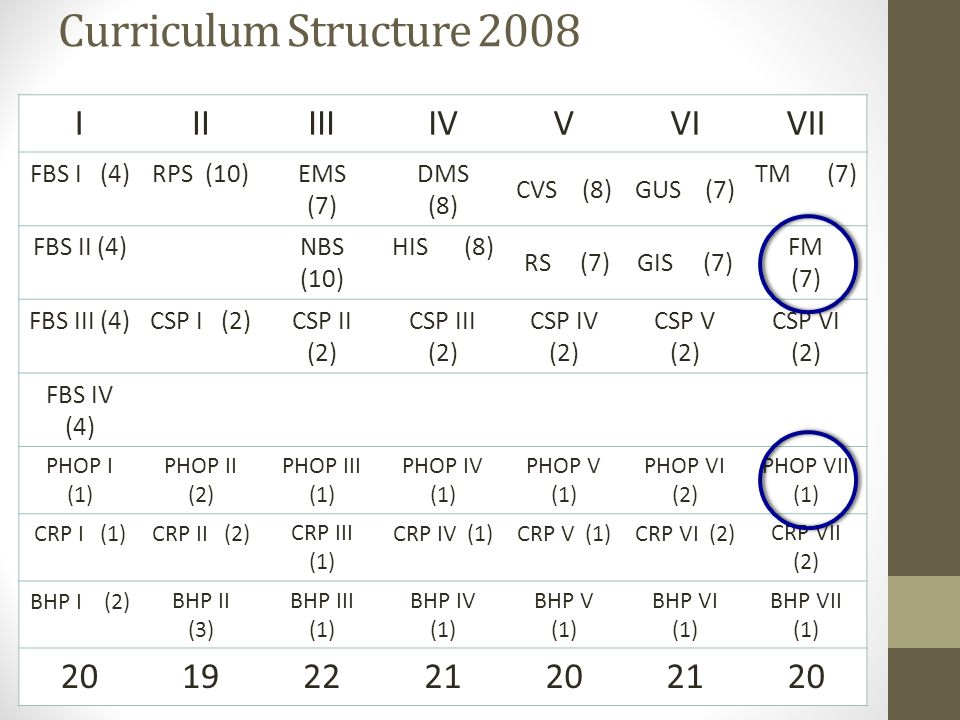 Curriculum Structure 2008 I II III IV V VI VII 20 19 22 21 FBS I (4)