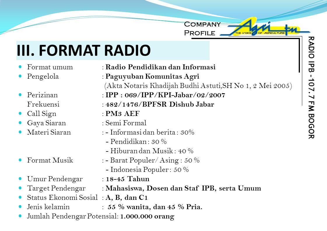 III. FORMAT RADIO RADIO IPB -107.7 FM BOGOR