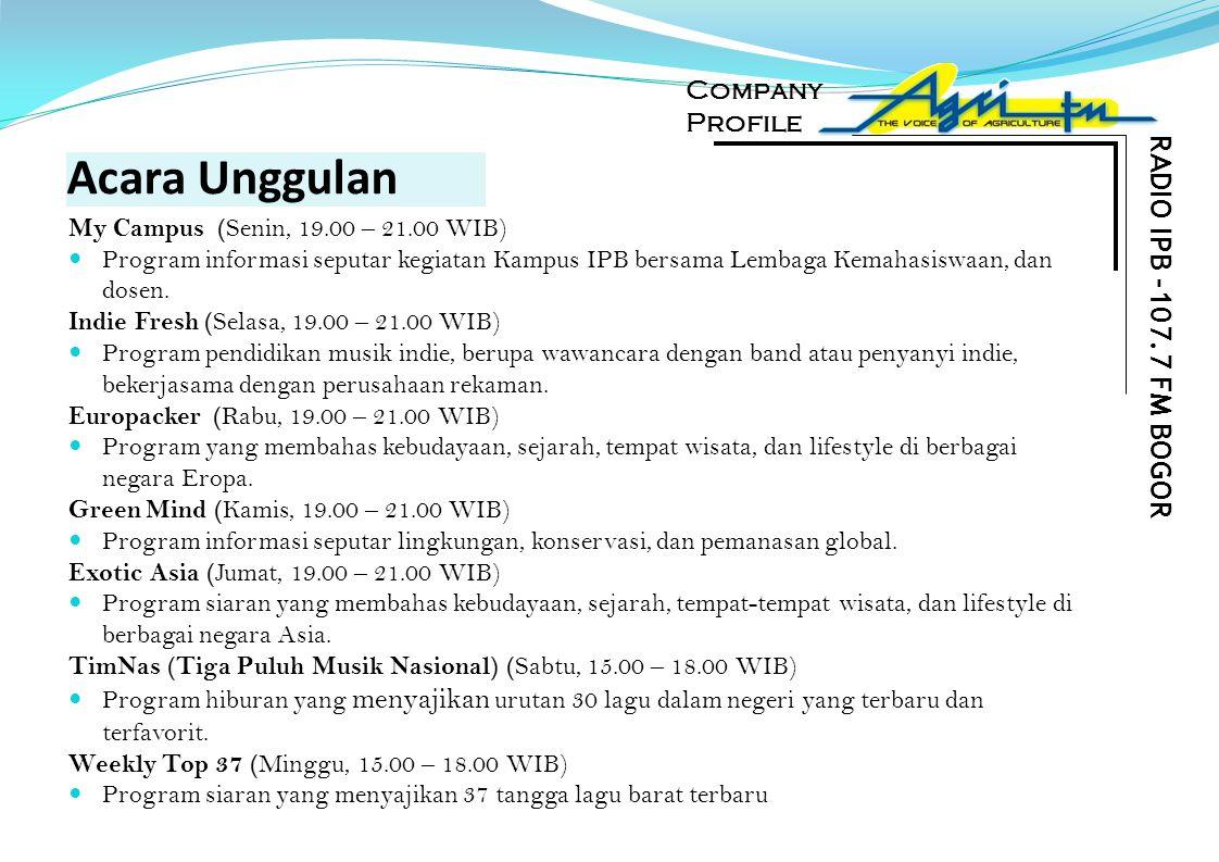 Acara Unggulan RADIO IPB -107.7 FM BOGOR Company Profile