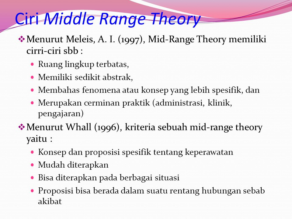Ciri Middle Range Theory