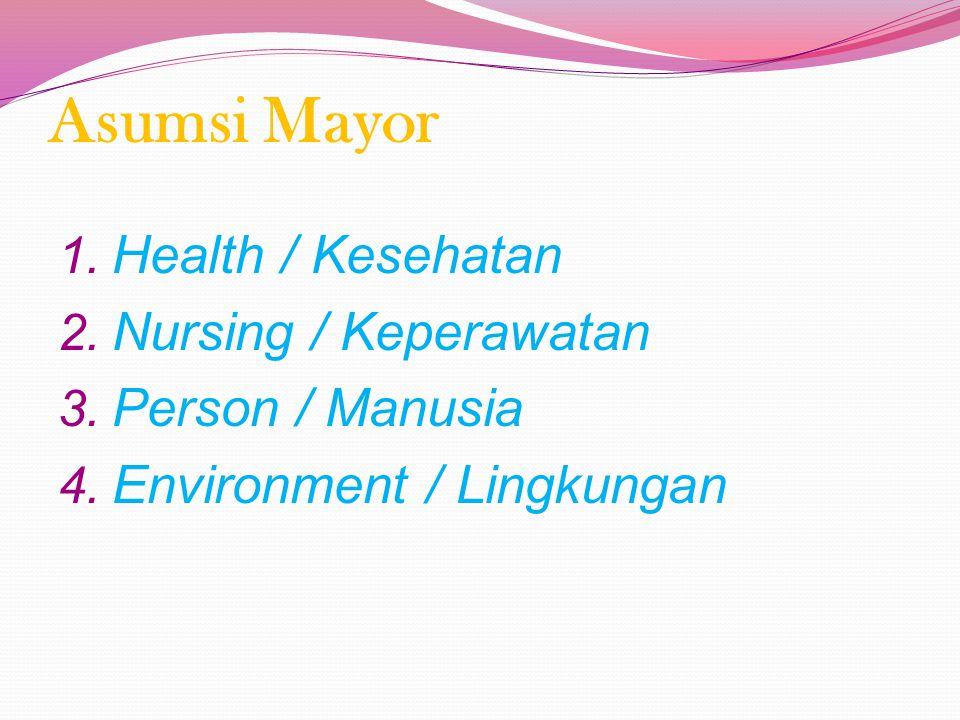 Asumsi Mayor Health / Kesehatan Nursing / Keperawatan Person / Manusia