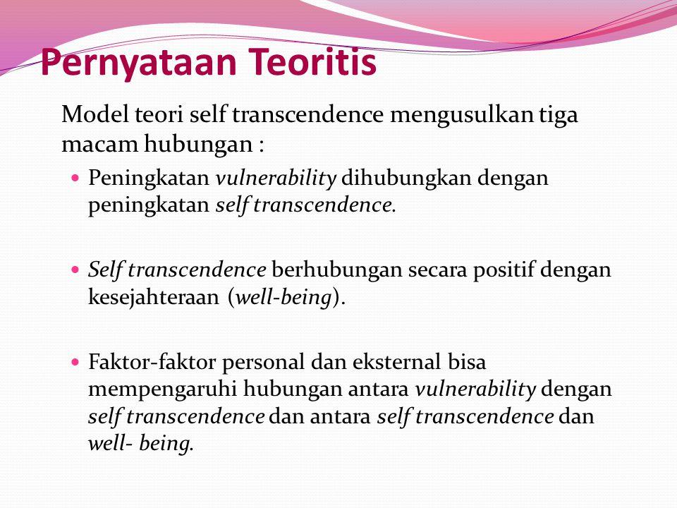 Pernyataan Teoritis Model teori self transcendence mengusulkan tiga macam hubungan :