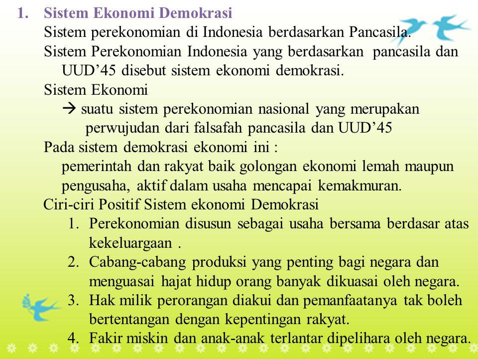 Sistem Ekonomi Demokrasi