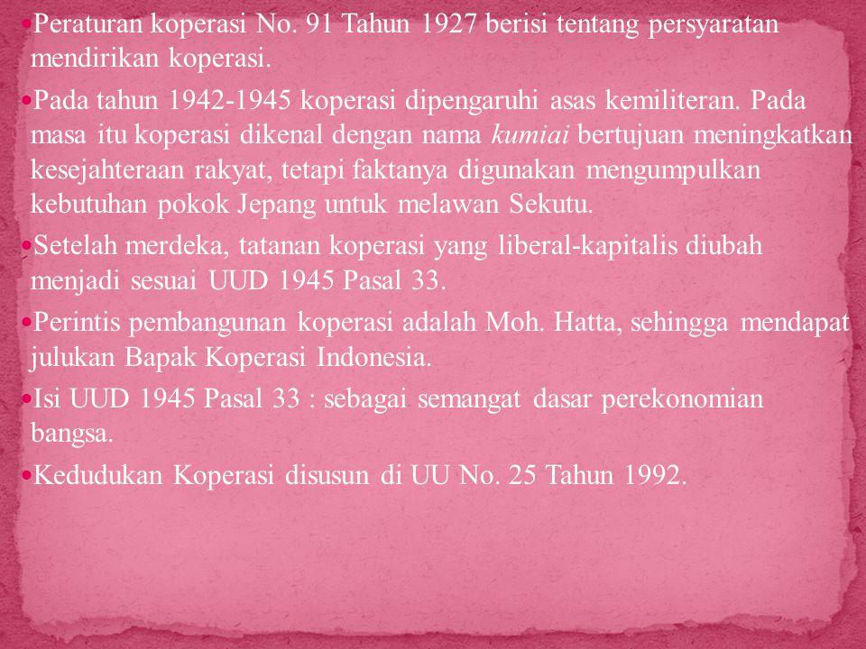 Peraturan koperasi No. 91 Tahun 1927 berisi tentang persyaratan mendirikan koperasi.
