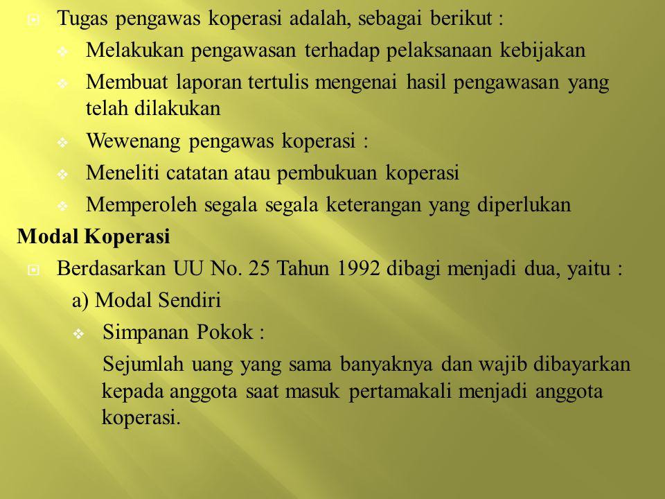 Tugas pengawas koperasi adalah, sebagai berikut :