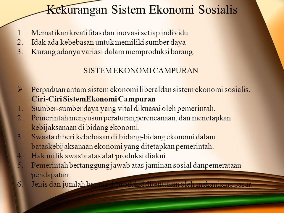 Kekurangan Sistem Ekonomi Sosialis