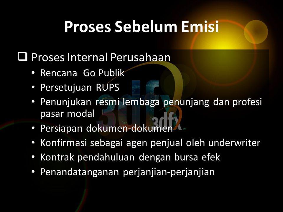 Proses Sebelum Emisi Proses Internal Perusahaan Rencana Go Publik