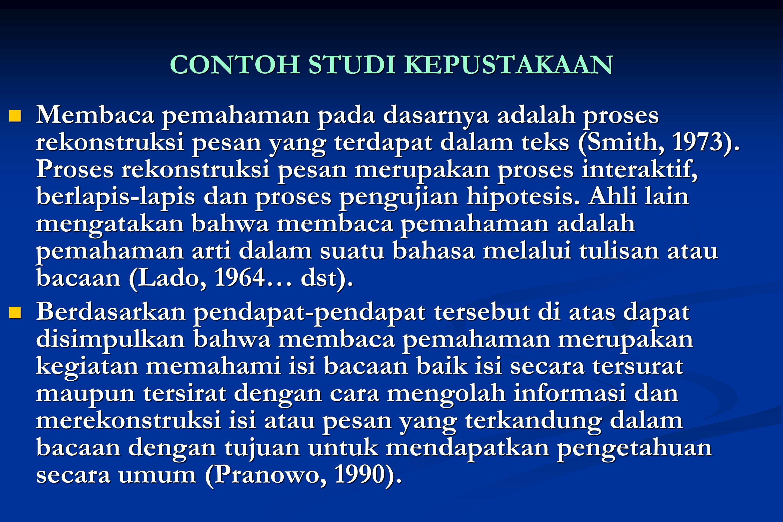 CONTOH STUDI KEPUSTAKAAN