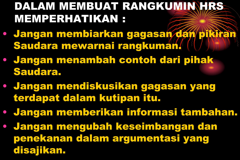 DALAM MEMBUAT RANGKUMIN HRS MEMPERHATIKAN :