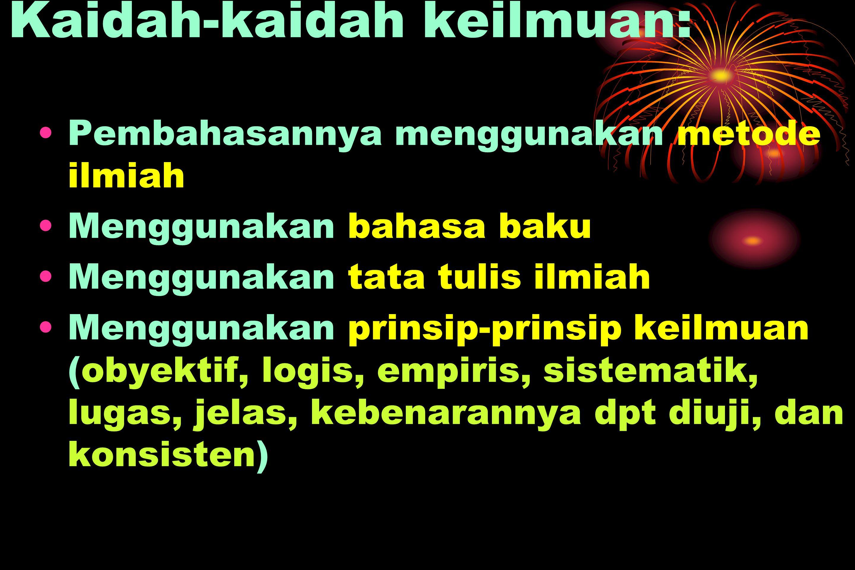 Kaidah-kaidah keilmuan: