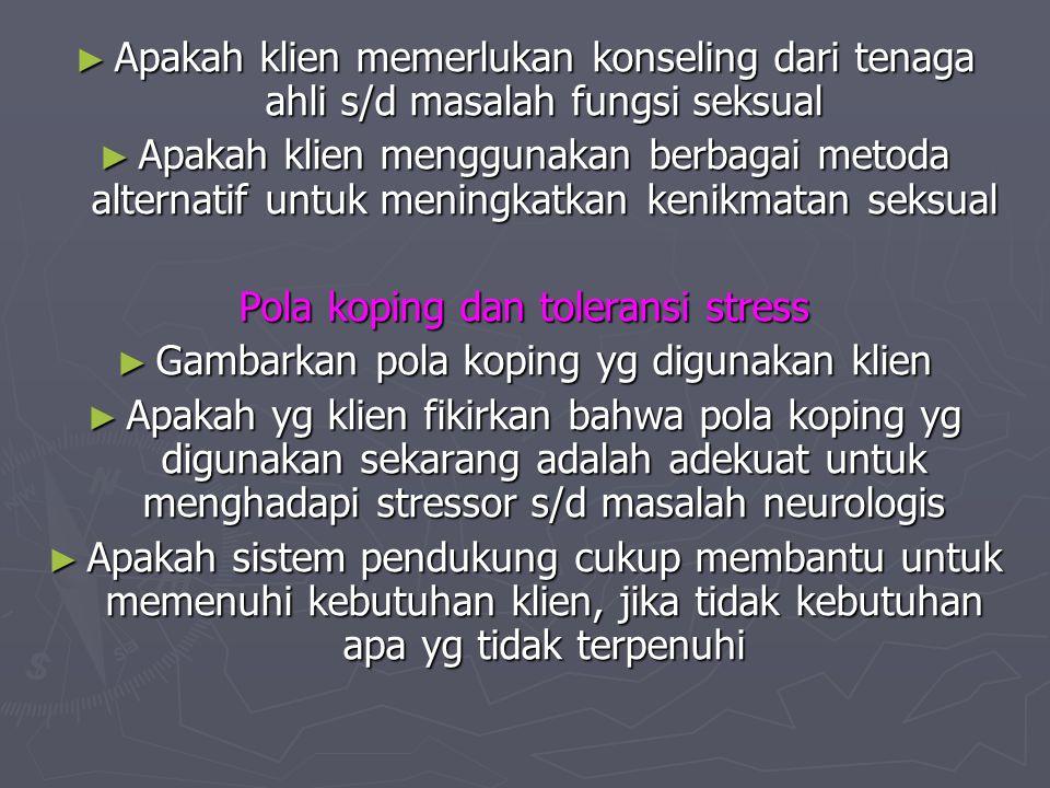 Pola koping dan toleransi stress