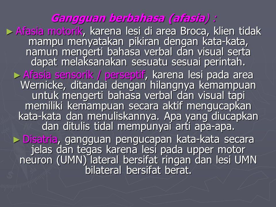 Gangguan berbahasa (afasia) :