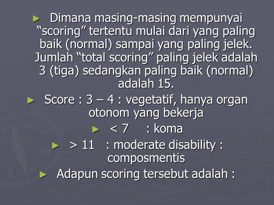 Score : 3 – 4 : vegetatif, hanya organ otonom yang bekerja