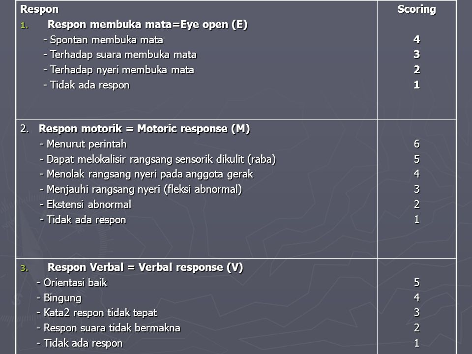 Respon Respon membuka mata=Eye open (E) - Spontan membuka mata. - Terhadap suara membuka mata. - Terhadap nyeri membuka mata.