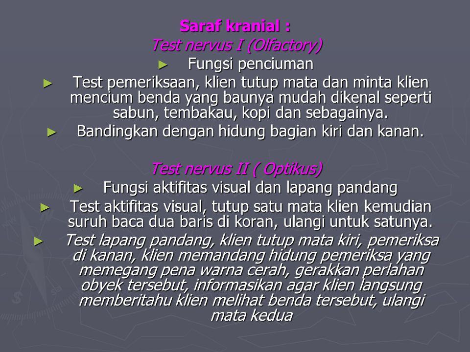 Test nervus I (Olfactory) Fungsi penciuman