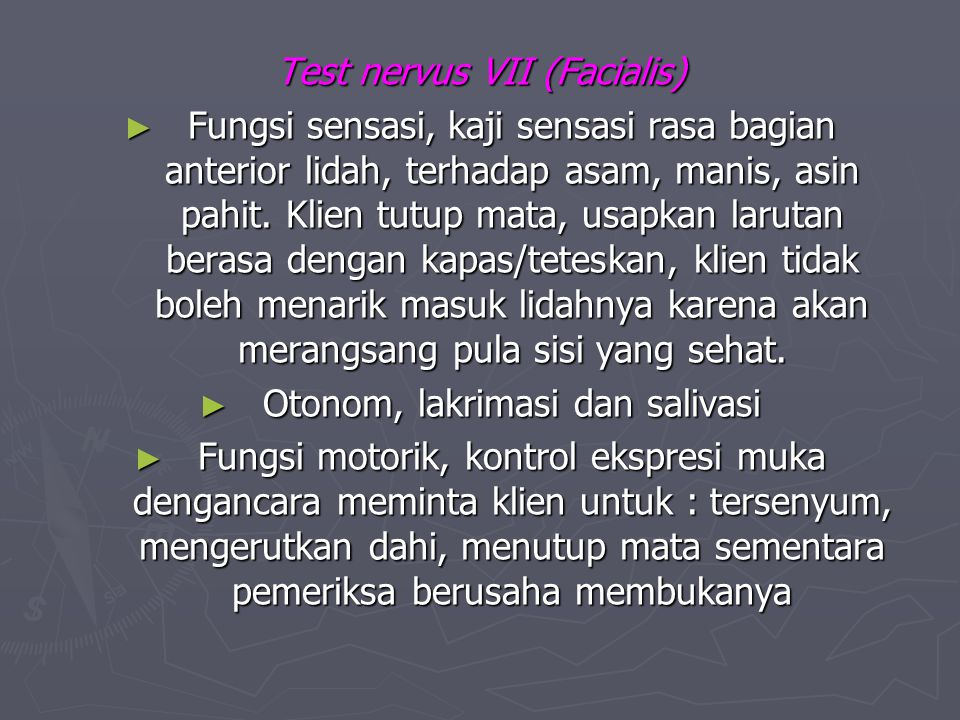 Test nervus VII (Facialis)