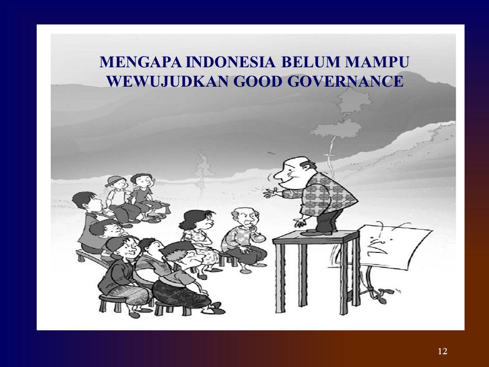 MENGAPA INDONESIA BELUM MAMPU WEWUJUDKAN GOOD GOVERNANCE