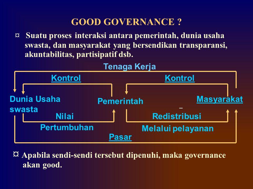 ¤ Apabila sendi-sendi tersebut dipenuhi, maka governance akan good.