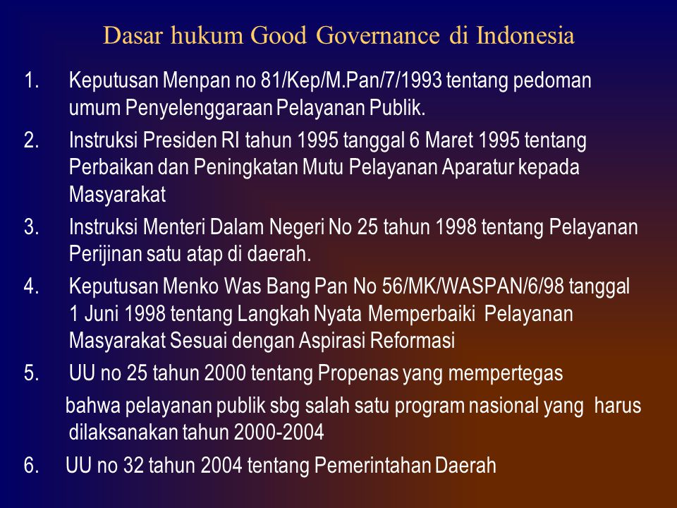 Dasar hukum Good Governance di Indonesia