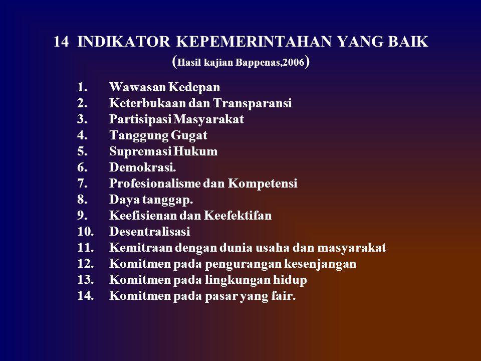 14 INDIKATOR KEPEMERINTAHAN YANG BAIK (Hasil kajian Bappenas,2006)
