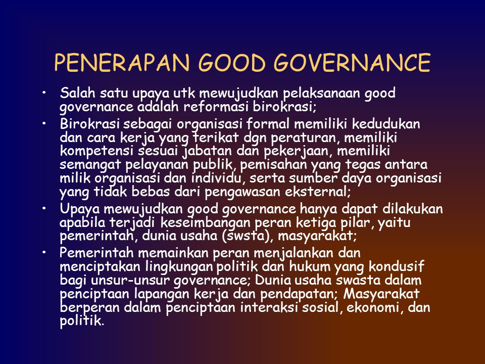 PENERAPAN GOOD GOVERNANCE