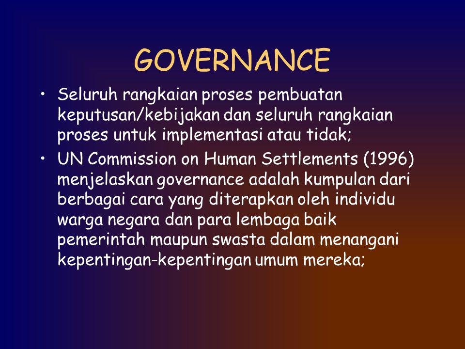 GOVERNANCE Seluruh rangkaian proses pembuatan keputusan/kebijakan dan seluruh rangkaian proses untuk implementasi atau tidak;