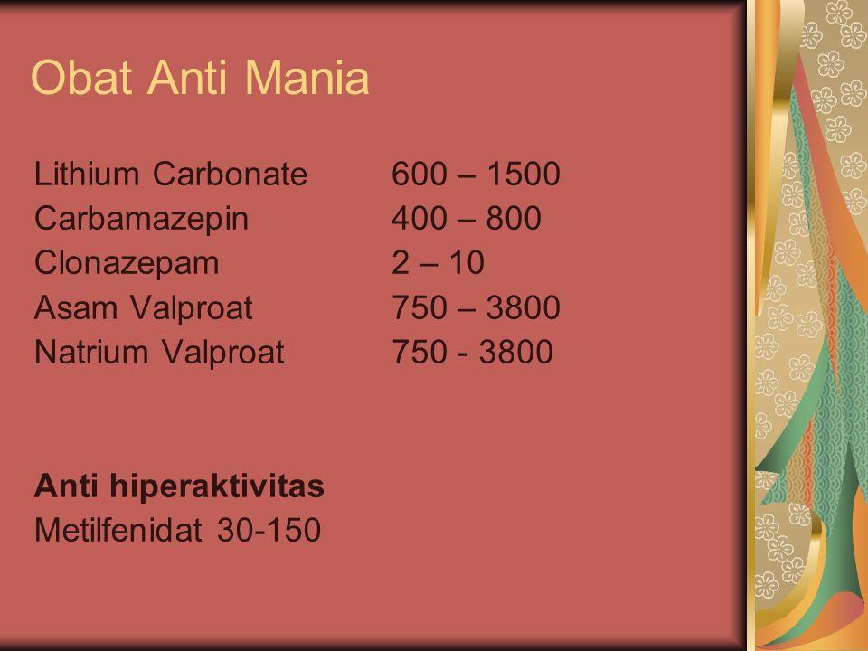 Obat Anti Mania Lithium Carbonate Carbamazepin Clonazepam