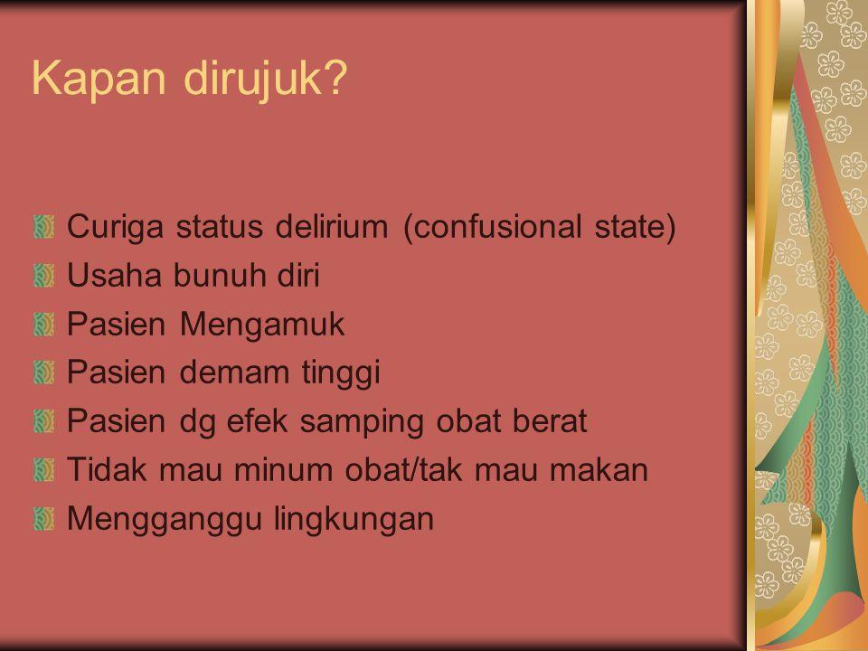 Kapan dirujuk Curiga status delirium (confusional state)