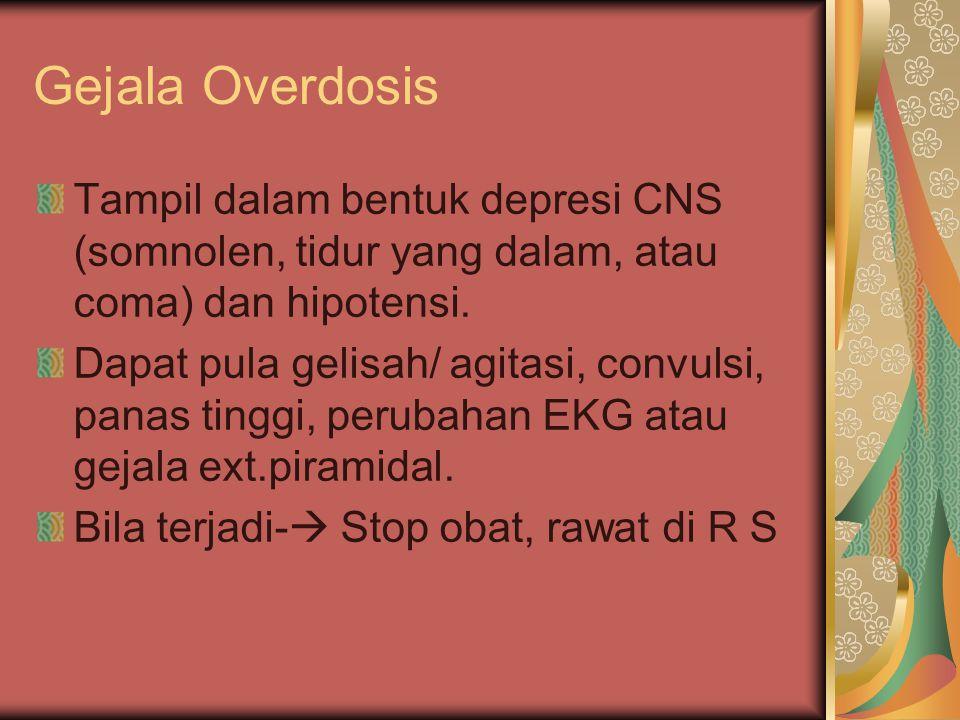 Gejala Overdosis Tampil dalam bentuk depresi CNS (somnolen, tidur yang dalam, atau coma) dan hipotensi.